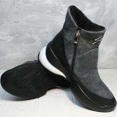 Зимние женские ботинки полусапожки на низком ходу Jina 7195 Leather Black-Gray