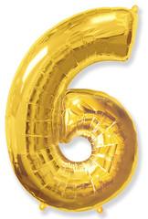 Воздушный шар (40''/102 см) Цифра, 6, Золото, 1 шт.