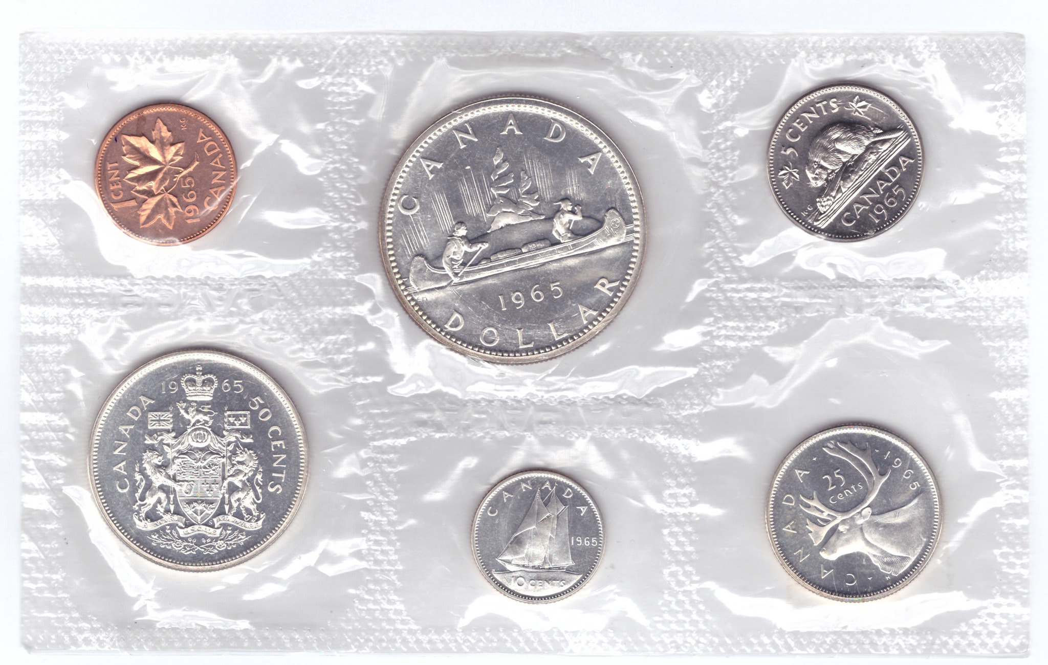 Набор из 6 монет Канады 1965 PROOF (Серебро, медь)