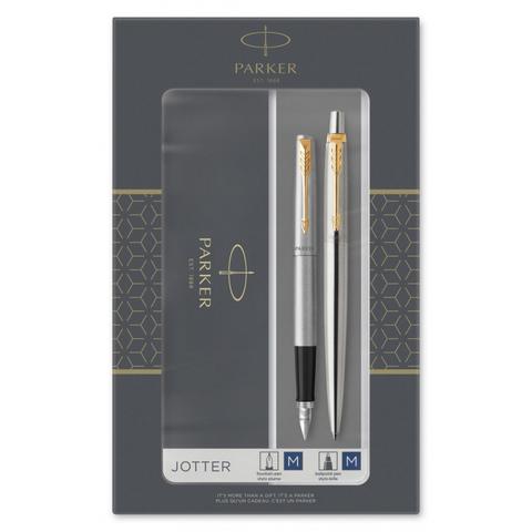 Набор подарочный Parker Jotter Core - Stainless Steel GT, ручка перьевая+ручка шариковая