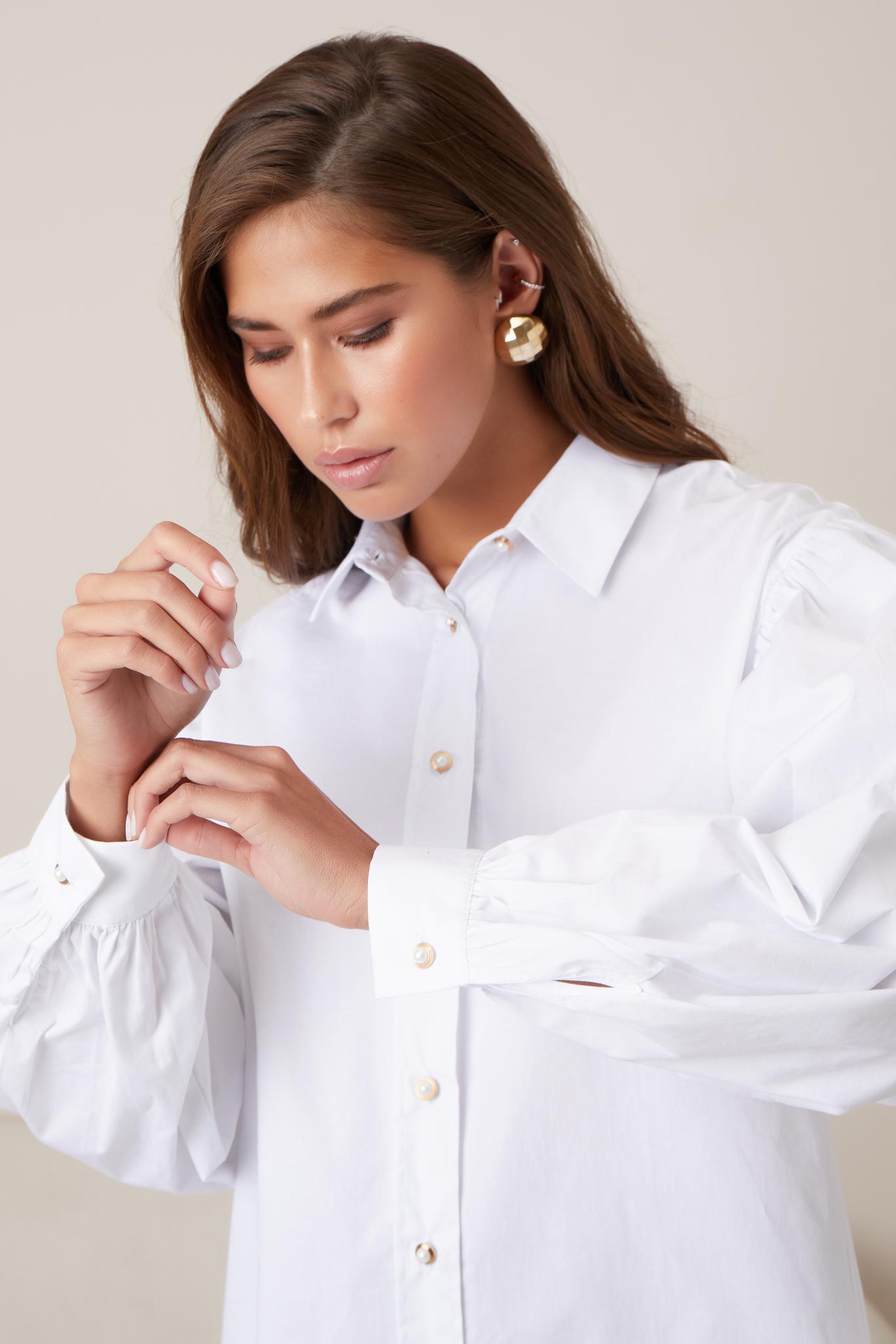 Рубашка с пышным рукавом (one size) (белый)