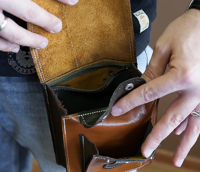 BAG379-2 Мужская кожаная сумка на пояс коричневого цвета, ручная работа фото 13