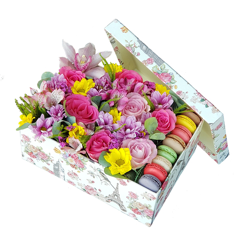 Коробка Разноцветная с Макарунсами