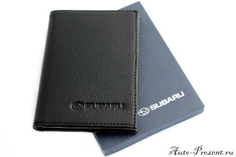 Портмоне для автодокументов из натуральной кожи с логотипом SUBARU