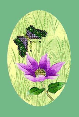 Тема: Разное, детское, насекомые, цветы¶Техника: Вышивание бисером¶Размер: 12 х 15см (окошко-овал: 7