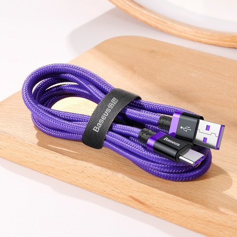 Кабель Baseus Purple Gold Red HW flash charge cable USB For Type-C 40W 2m Red