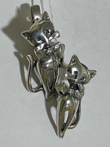 Кот (серьги из серебра)