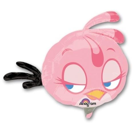 Фольгированный шар Angry Birds розовая