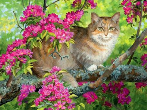 Алмазная Мозаика 20x30 Кошка среди розовых цветов (арт. S3166)