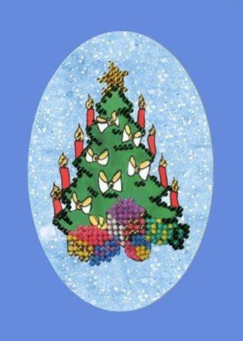 Тема: Разное, новый год¶Техника: Вышивание бисером¶Размер: 13 х 15см (окошко-овал: 7,5 х 11,5 см)¶Ос