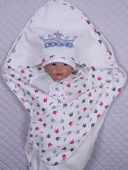 Летний конверт плед Мой Принц (кремовый/короны-красно/синие)