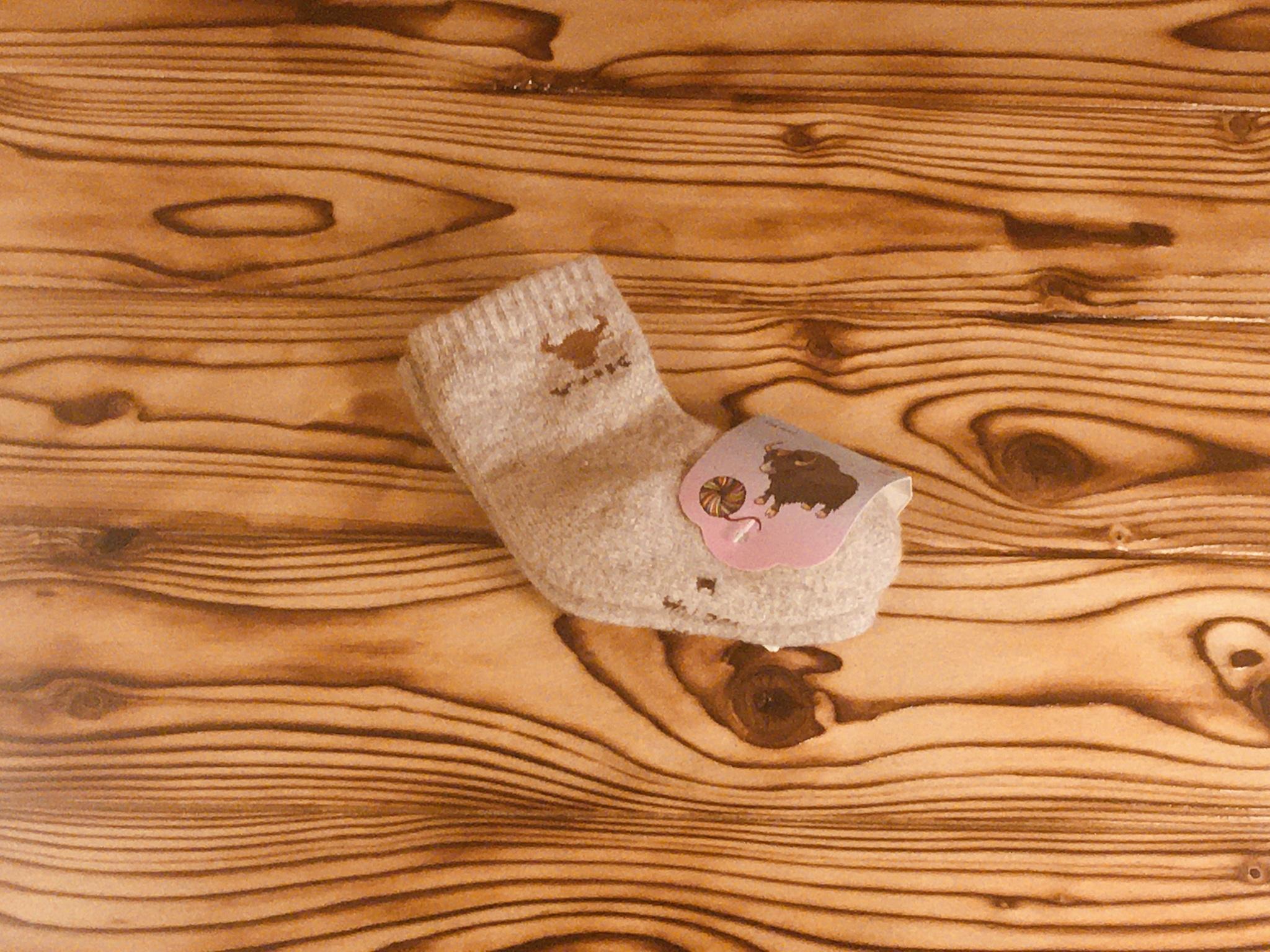 Носки детские из шерсти яка (серые) р.1 фото2