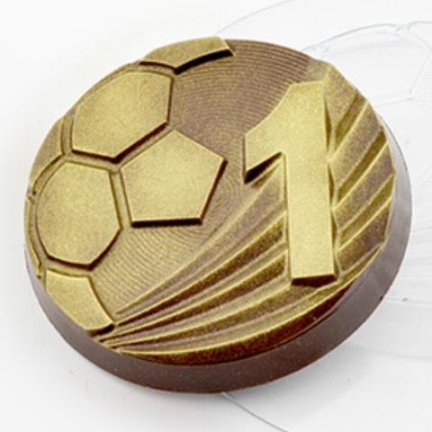Пластиковая форма для шоколада дет. МЕДАЛЬ ЛУЧШИЙ ФУТБОЛИСТ (диаметр 80мм)