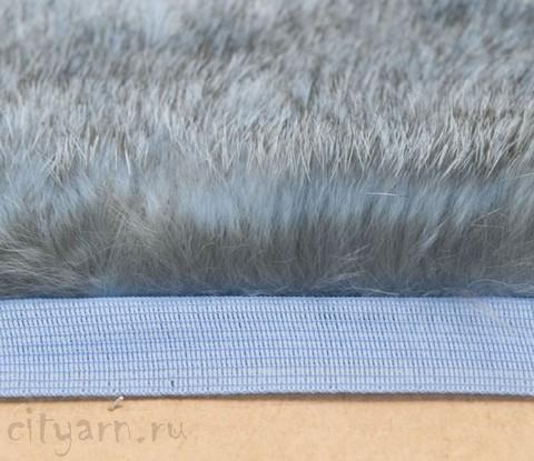 Меховая лента из кролика на прочной тесьме, серо-голубая, ширина 2.5 см