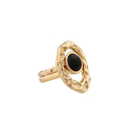 Кольцо двойное Black Agate 17.2 мм K7158.4/17.2 BW/G