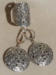 Цветы (кольцо + серьги из серебра)