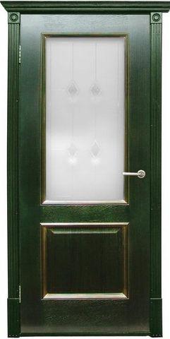 Дверь Халес Триест (зеленый с золотом, остекленная, массив хвойных пород)