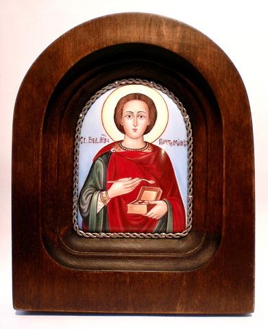Икона финифть Целитель Пантелеймон деревянная арка