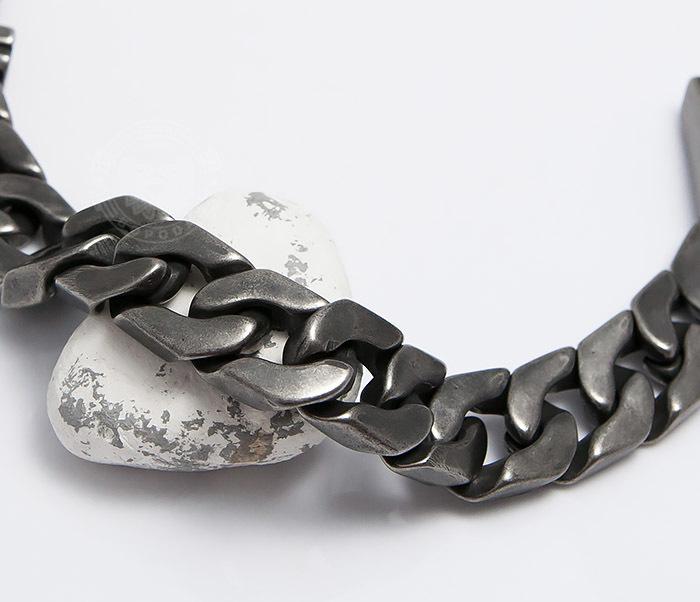 BM492 Крупный браслет цепь из стали цвета Gun Metal (22 см) фото 03