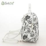 Сумка Саломея 146 цветы + белый (рюкзак)
