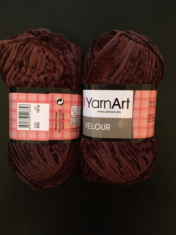 Пряжа Ярнарт ВЕЛЮР цвет 852 темно-коричневый