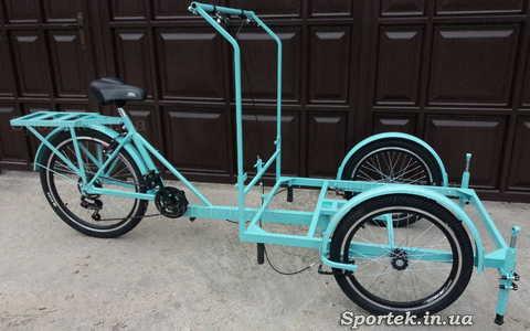 Трехколесный велосипед с передней платформой для уличной торговли 'Кофейный' (голубой)