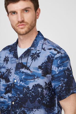 Мужская синяя рубашка HAWAIIAN Tommy Hilfiger