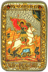 Инкрустированная Икона Чудо святого Георгия о змие 15х10см на натуральном дереве, в подарочной коробке