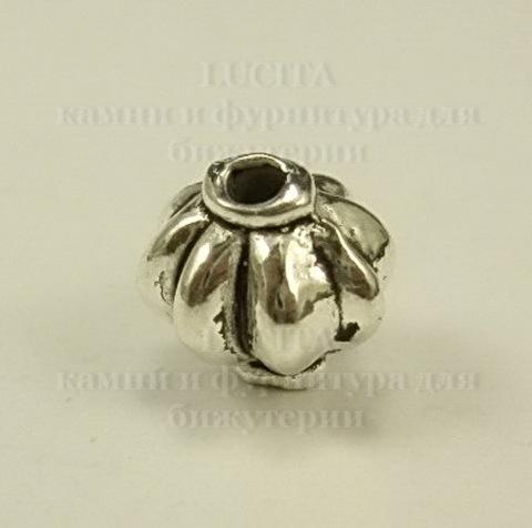Бусина металлическая (цвет - античное серебро ) 9 мм, 10 штук