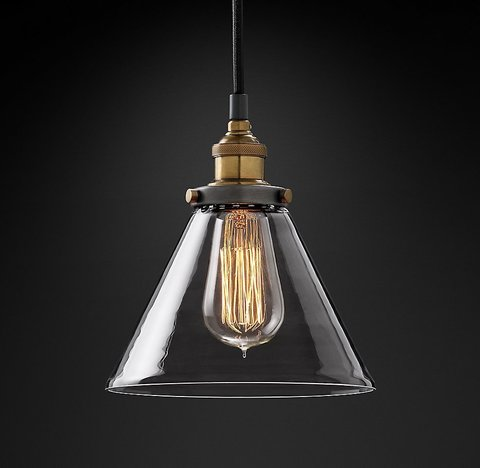 Подвесной светильник копия 20th C. Factory Filament Clear Glass Funnel Pendant by Restoration Hardware