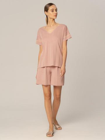 Женские шорты бежево-розового цвета из вискозы - фото 3