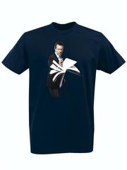Футболка с принтом Доктор Хаус (House, M.D., Хью Лори, Hugh Laurie) темно-синяя 001