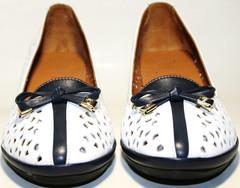 Белые туфли кожаные женские. Летние туфли с перфорацией Rifellini Rovigo - White blue 36-й размер.