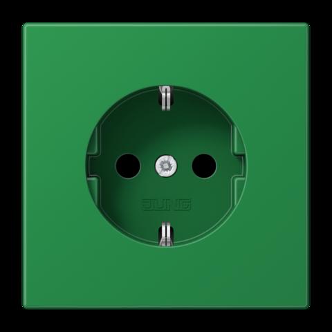 Розетка с заземлением, безвинтовой зажим. 16 A / 250 B ~. Цвет Блестящий зелёный. JUNG LS. LS1520BFGN