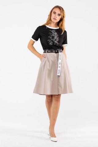 Фото бежевая юбка-трапеция с планкой и карманами - Юбка Б143б-160 (1)