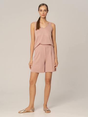 Женские шорты бежево-розового цвета из вискозы - фото 2