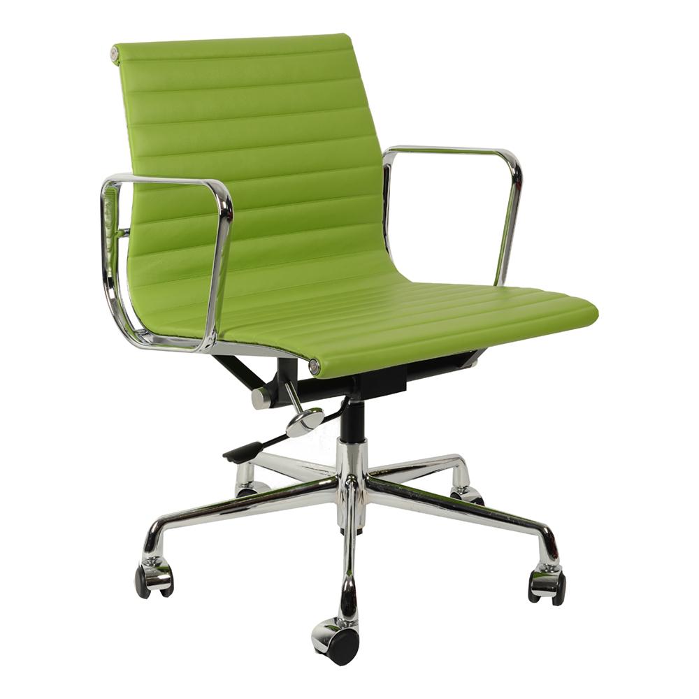 Кресло Eames Style Ribbed EA 117 салатовая кожа - вид 1