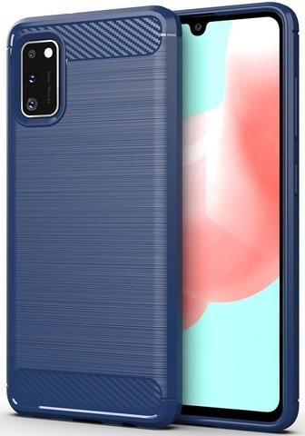 Противоударный чехол синего цвета для Samsung Galaxy A41, серия Carbon от Caseport