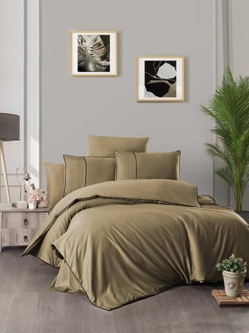 Комплект постельного белья DO&CO Сатин  жаккард DELUX CATRA FANTAS 2 спальный Евро цвет карамельный