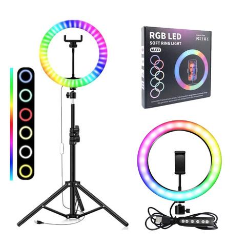 Кольцевая лампа rgb mj33 цветная светодиодная 33 см