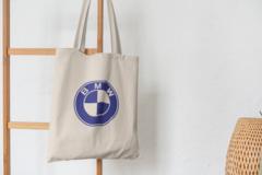 Сумка-шоппер с принтом BMW (БМВ) бежевая 007