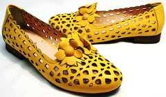 Модные кожаные туфли на лето женские Phany 103-28 Yellow.