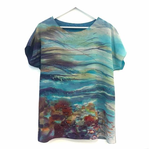 Шелковая блузка батик Берег