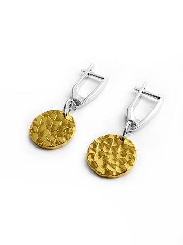 Серебряные серьги с позолоченными медальонами