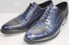 Кожаные оксфорды мужские броги Ikoc 3805-4 Ash Blue Leather.