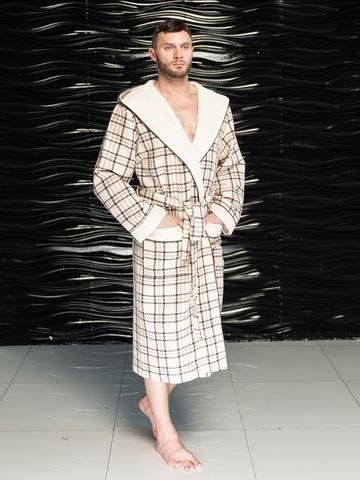 Вафельный мужской халат David с капюшоном кремовый