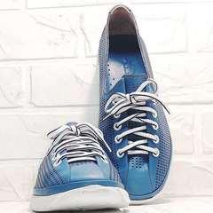 Кожаные кроссовки кеды с перфорацией женские летние street casual Wollen P029-2096-24 Blue White.