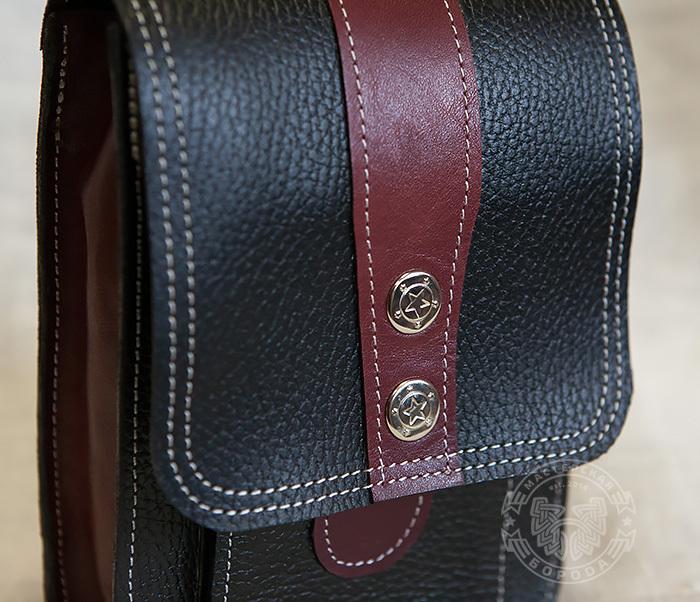 BAG379-3 Мужская поясная сумка ручной работы их натуральной кожи фото 02