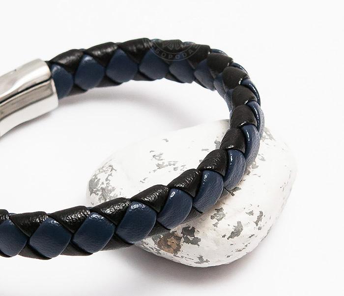 BM447-3 Мужской браслет из кожи черного и синего цветов (21 см) фото 03