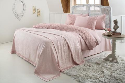Набор КПБ с покрывалом  Gelin Home  ESMA темно-розовый евро